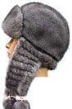 Зимняя шапка ушанка женская плетенное ухо  Цвет серый, фото 2
