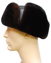 Ушанка чёрная меховая мужская норковая