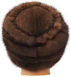 Женская норковая Кубанка резаный узор (орех), фото 3