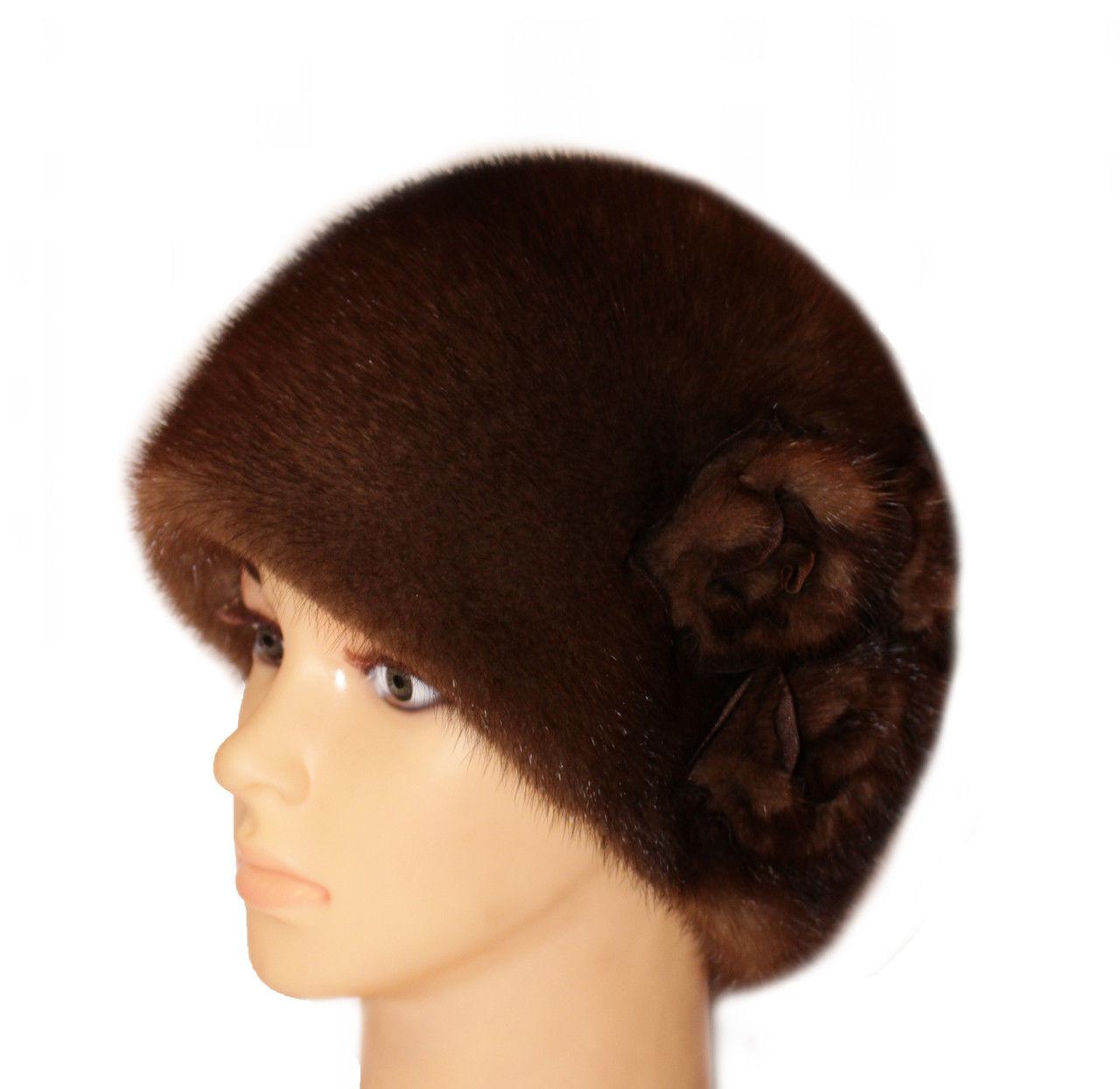 """Коричневая норковая  шапка модель """"конфетка , три розы"""""""