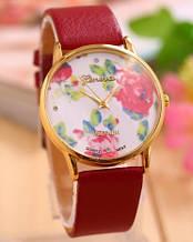 Часы наручные женские Женева Цветы красный ремешок