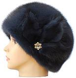 """Норковая  шапка модель """"конфетка цветок """" цвет  темно серая, фото 2"""