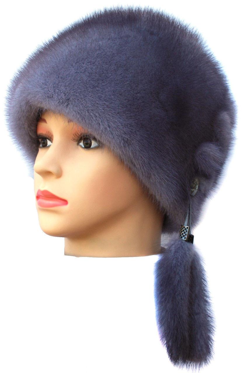 """Серо голубая  норковая  шапка модель """"конфетка """""""