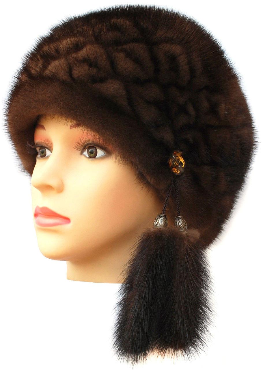 """Норковая  шапка модель """"конфетка резаный узор """" цвет орех"""