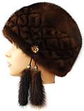"""Норковая  шапка модель """"конфетка резаный узор """" цвет орех, фото 2"""