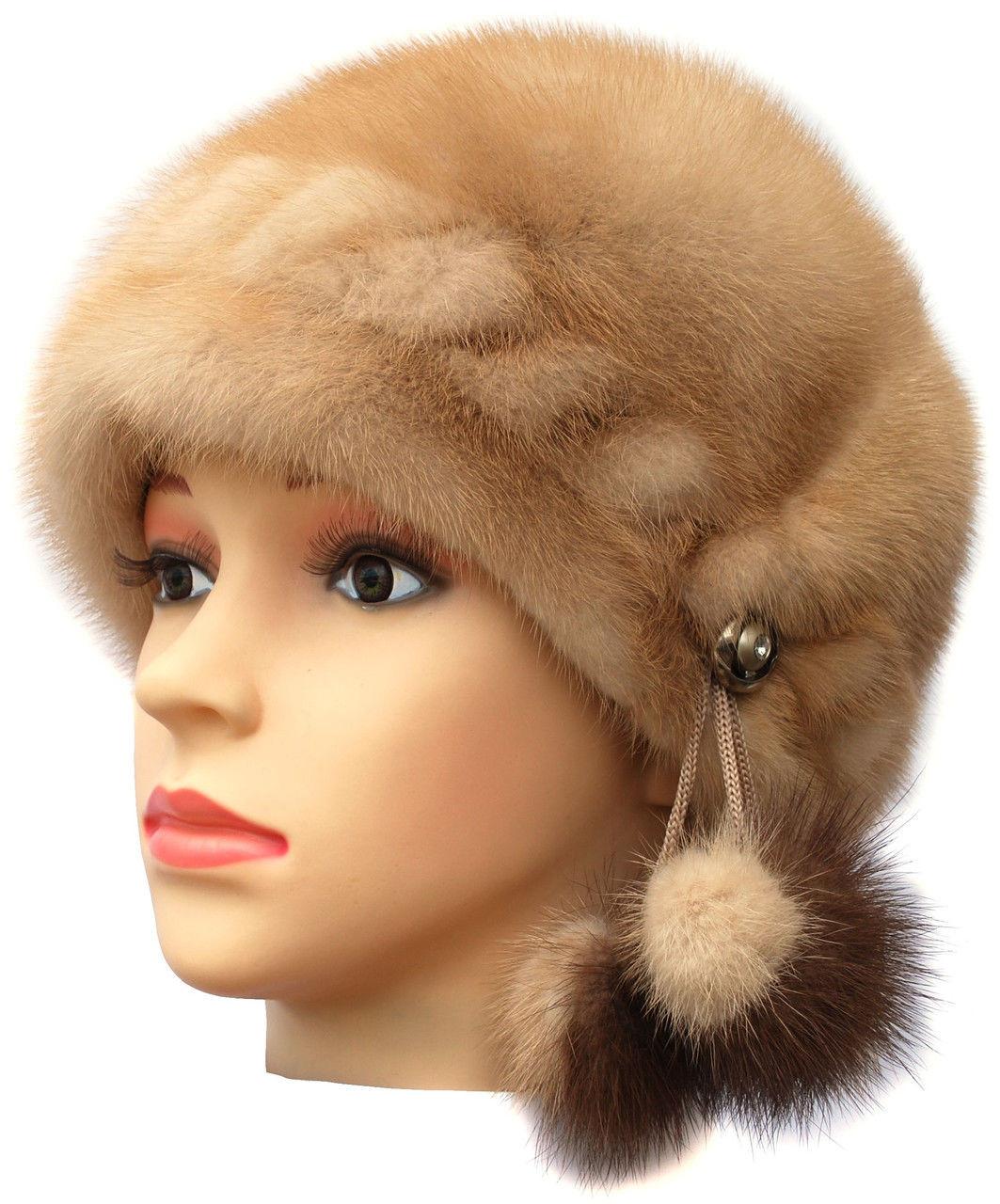 """Норковая  шапка модель """"конфетка резаная 1 ряд """" цвет бежевый"""