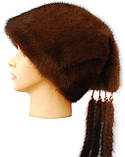 """Зимняя норковая шапка """" Козачек 2"""" цвет  коричневый, фото 2"""