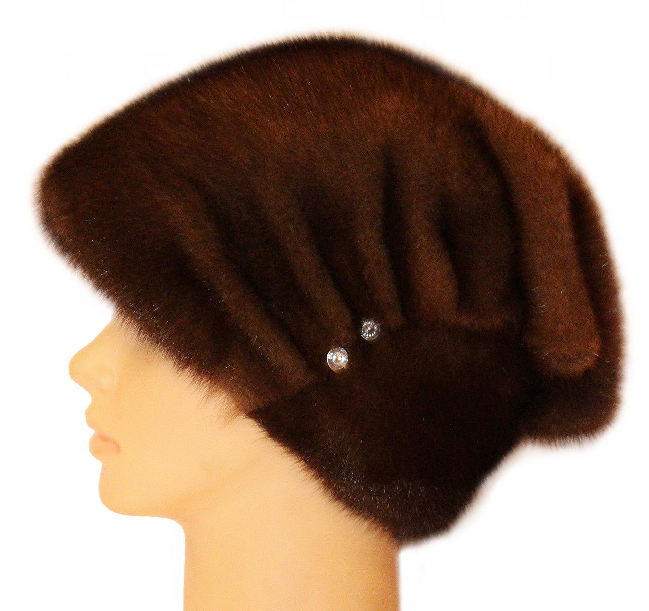 "Норковая шапка  ""Бритни, пуговица "" цвет орех"