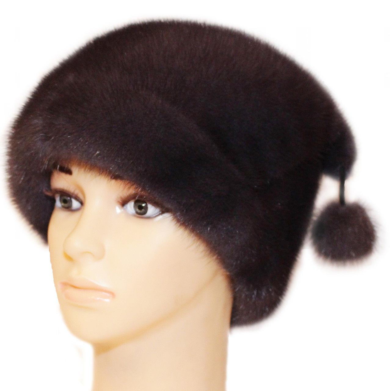 """Норковая женская шапка """"киска """" цвет ирис"""