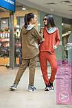 Двухцветный спортивный терракотовый костюм  с капюшоном, фото 3