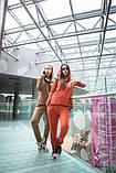 Двухцветный спортивный терракотовый костюм  с капюшоном, фото 6