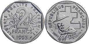 Франция 2 франка 1993 Франция — 50 лет Национальному движению сопротивления