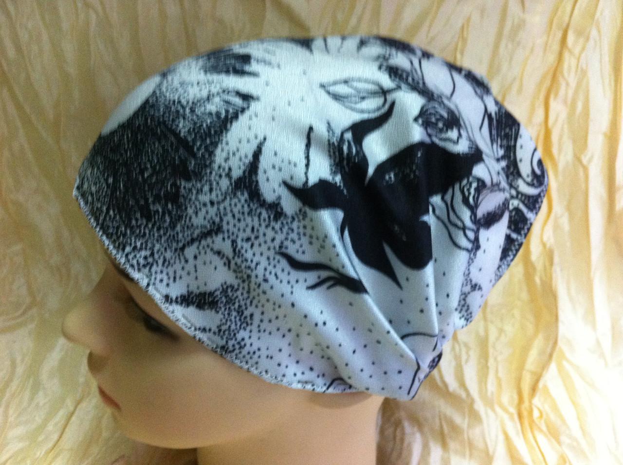 Косынка повязка на резинке цвет белый с рисунком