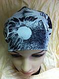 Косынка повязка на резинке цвет белый с рисунком, фото 3