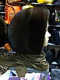 Меховая стильная косынка капюшон цвет черный, фото 5
