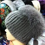 Меховая шапка из норки и песца кофейного цвета на вязанной основе, фото 3