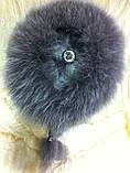 Меховая шапка из норки и песца кофейного цвета на вязанной основе, фото 4