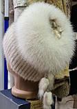 Меховая шапка из норки и песца кофейного цвета на вязанной основе, фото 6