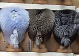 Меховая шапка из норки и песца кофейного цвета на вязанной основе, фото 7