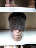 Меховая шапка из норки и песца кофейного цвета на вязанной основе, фото 8