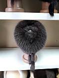 Меховая шапка из норки и песца кофейного цвета на вязанной основе, фото 9