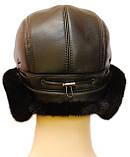 Шапка мужская из натуральной норки цвет черный, фото 4