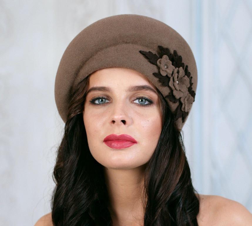 Фетровый берет шляпа с ассиметричным наклоном