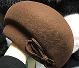 Фетровый берет шляпа с ассиметричным наклоном, фото 2