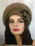 Фетровый берет шляпа с ассиметричным наклоном, фото 6