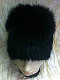 Меховая шапка из норки и песца чёрного цвета на вязанной основе, фото 2