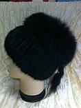Меховая шапка из норки и песца чёрного цвета на вязанной основе, фото 3