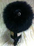 Меховая шапка из норки и песца чёрного цвета на вязанной основе, фото 4