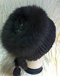 Меховая шапка из норки и песца чёрного цвета на вязанной основе, фото 6