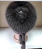 Меховая шапка из норки и песца чёрного цвета на вязанной основе, фото 8