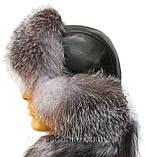 Мужская  ушанка из  натуральной кожи и чурнобурки, фото 2