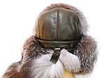 Мужская  ушанка из  натуральной кожи и чурнобурки, фото 3