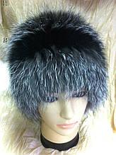 Меховая шапка из чернобурки  на вязанной  основе