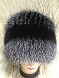 Меховая шапка из чернобурки  на вязанной  основе, фото 4