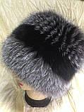 Меховая шапка из чернобурки  на вязанной  основе, фото 7