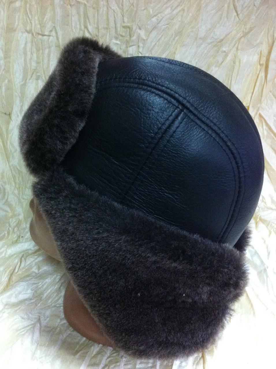 Мужская ушанка из натуральной коричневой овчины