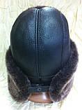 Мужская ушанка из натуральной коричневой овчины, фото 2