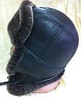 Мужская ушанка из натуральной коричневой овчины, фото 3