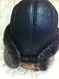Мужская ушанка из натуральной коричневой овчины, фото 6