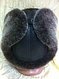 Мужская ушанка из натуральной коричневой овчины, фото 7