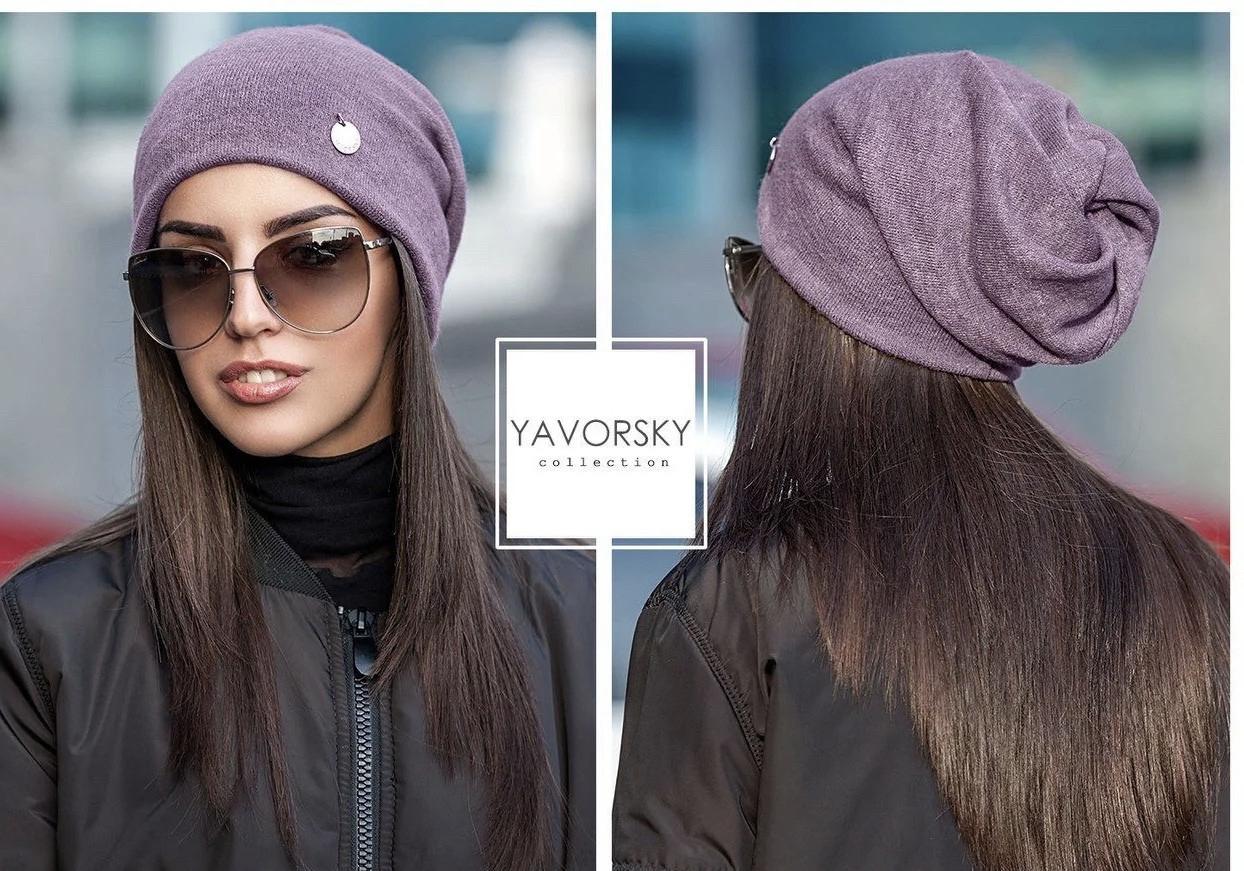 Молодежная шапка  с отверстием для волос цвет красный марсала оливковый