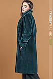 Голубая женская  шуба  под мех кролика, фото 10