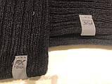 Черный мужской комплект шапка +шарф, фото 2