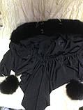 Косынка с черным мехом песца  цвет черный размер универсальный, фото 4