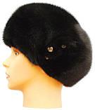 Норковая шапка берет цвет черный, фото 2