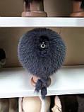 Меховая шапка из норки и песца серого цвета на вязанной основе, фото 3